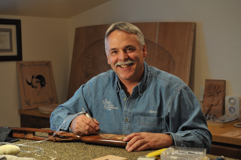 working with wood carving power tool