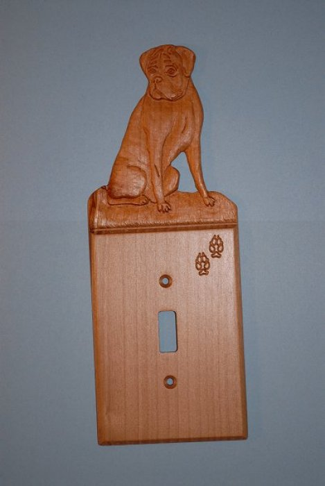 Custom Hand Carved Boxer Light Switch Cover