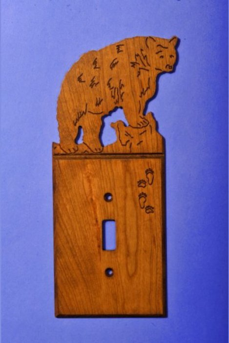 Custom Black Bear Light Switch Cover