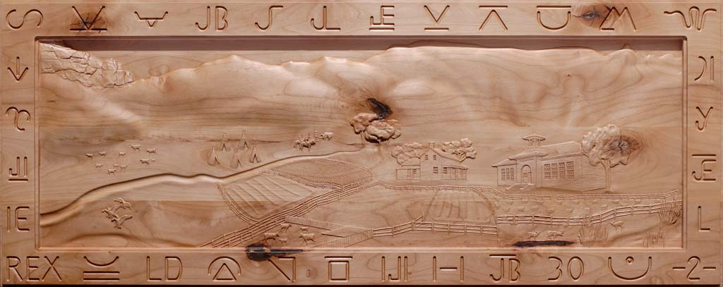 Custom Carving dipicting the History of Fayette UT