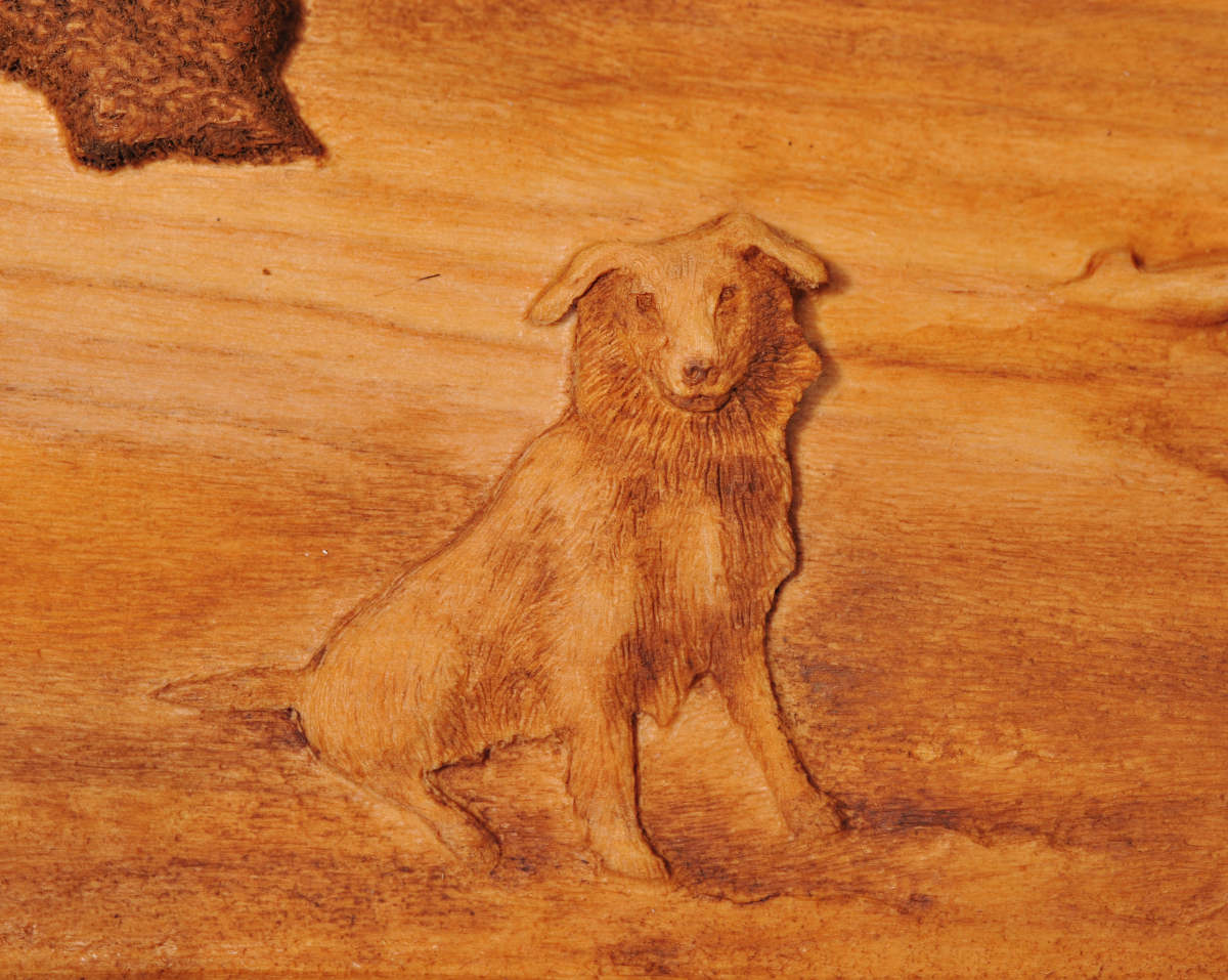 Carving of Dog2 at Sheep Camp