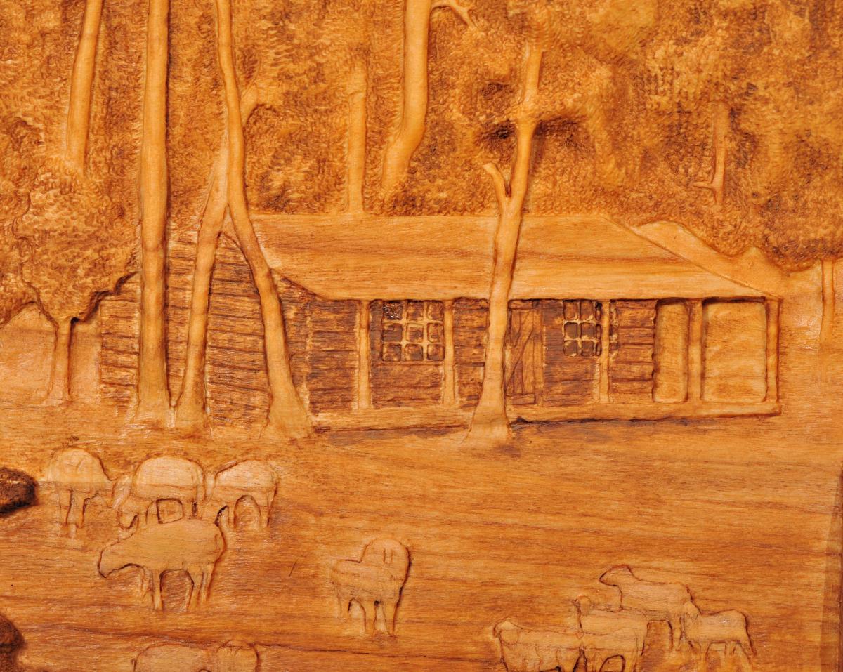 Carving of Cabin at Sheep Camp