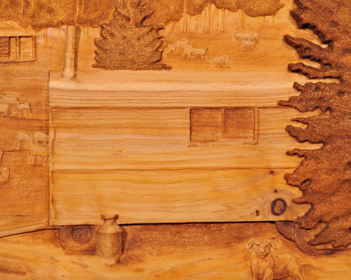 Carving of trailer at Sheep Camp