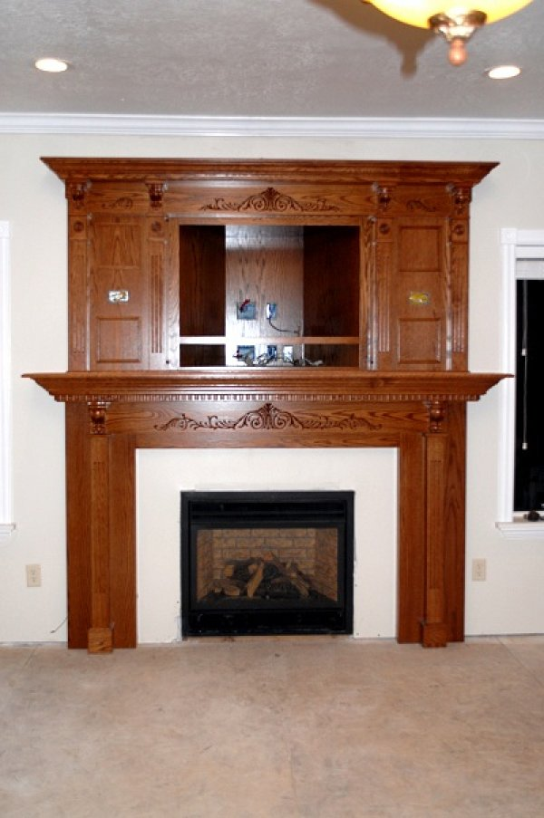 Custom Built and Carved Mantle