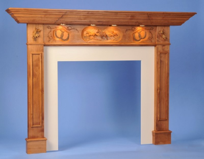 Carved Horse Mantle