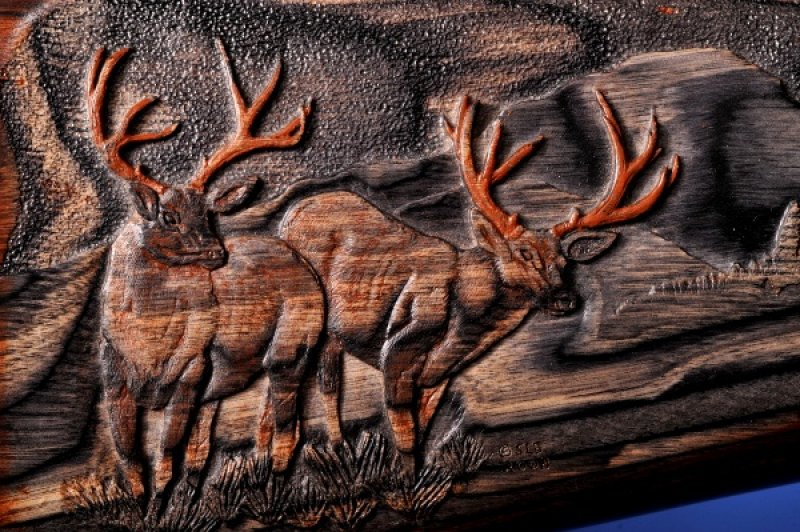 Close Up on Carved Mule Deer