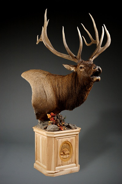 Right Elk Carved Pedestal
