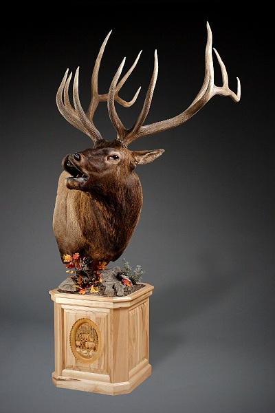 Left Elk Carved Pedestal
