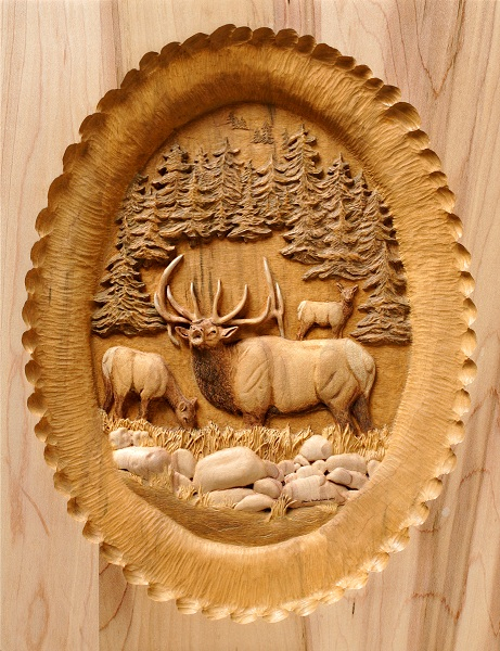 Up Close to Elk Pedestal Custom Carved Panel