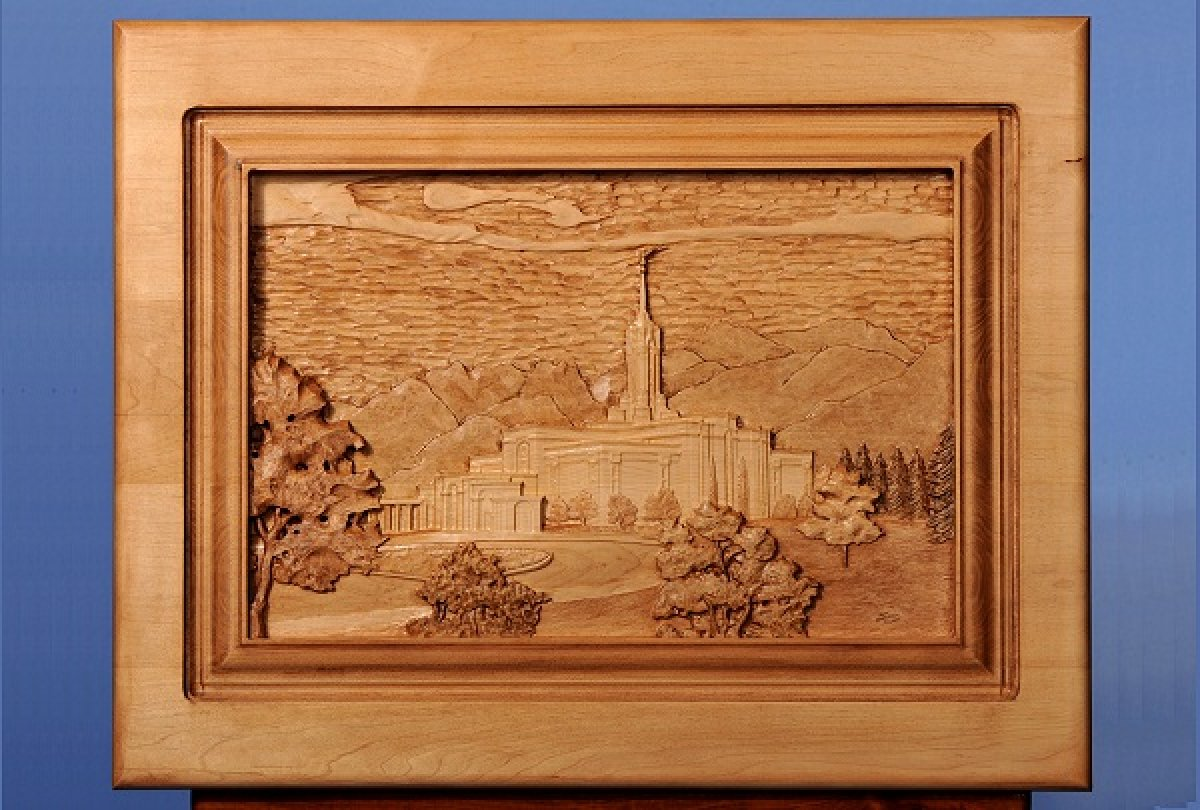Custom Carved LDS Mt Timp Temple
