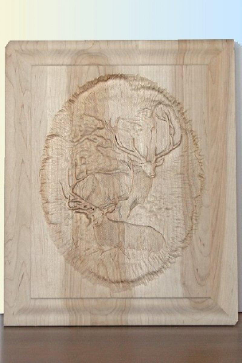 Custom Carved 2 Elk Panel